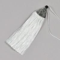 Tofs i polyester och metall, 85mm, vit
