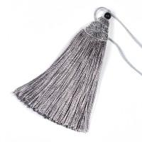 Tofs i polyester och metall, 85mm, ljusgrå