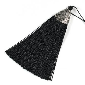 Tofs i polyester och metall, 85mm, svart