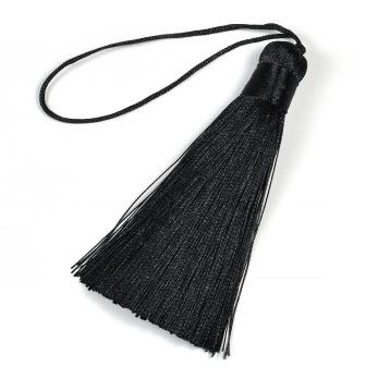 Tofs i polyester, 80mm, svart