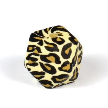 Kantig silikonpärla, 18mm, leopard