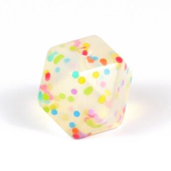 Kantig silikonpärla, 18mm, konfetti