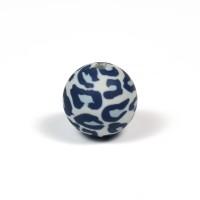 Silikonpärlor 15mm, leopard grå