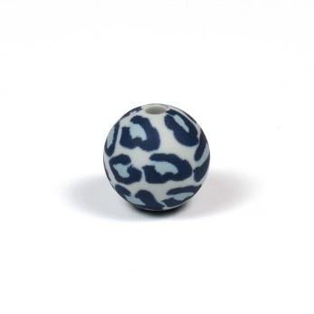 Silikonpärlor 12mm, leopard grå