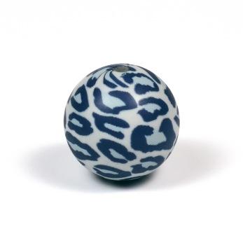 Silikonpärlor 19mm, leopard grå
