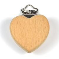 Clips i obehandlat trä, hjärta