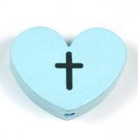 Motivpärla stort hjärta med kors, ljusblå