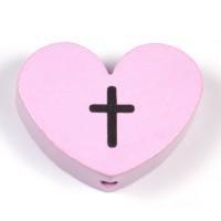 Motivpärla stort hjärta med kors, ljusrosa