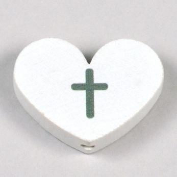 Motivpärla stort hjärta med kors, vit