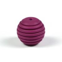 Räfflad silikonpärla 15mm, vinröd