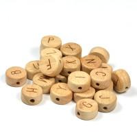 Platta, runda bokstavspärlor i trä