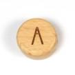 Platta, runda bokstavspärlor i trä - A