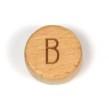 Platta, runda bokstavspärlor i trä - B