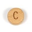 Platta, runda bokstavspärlor i trä - C