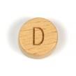 Platta, runda bokstavspärlor i trä - D