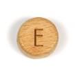 Platta, runda bokstavspärlor i trä - E