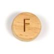 Platta, runda bokstavspärlor i trä - F