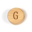Platta, runda bokstavspärlor i trä - G