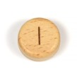 Platta, runda bokstavspärlor i trä - I