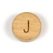 Platta, runda bokstavspärlor i trä - J