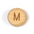Platta, runda bokstavspärlor i trä - M
