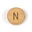 Platta, runda bokstavspärlor i trä - N