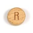 Platta, runda bokstavspärlor i trä - R