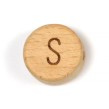 Platta, runda bokstavspärlor i trä - S