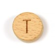 Platta, runda bokstavspärlor i trä - T