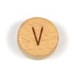 Platta, runda bokstavspärlor i trä - V