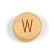 Platta, runda bokstavspärlor i trä - W