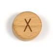Platta, runda bokstavspärlor i trä - X