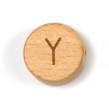 Platta, runda bokstavspärlor i trä - Y