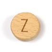 Platta, runda bokstavspärlor i trä - Z