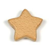 Obehandlad träpärla, stjärna, 28mm