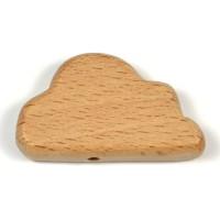 Obehandlad träpärla, moln, 36mm