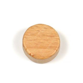 Platt, rund pärla i obehandlat trä