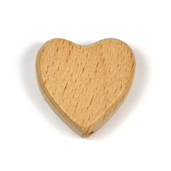 Obehandlad träpärla, hjärta, 24mm