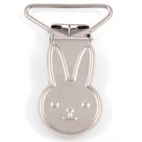 Metallclips kanin, silver