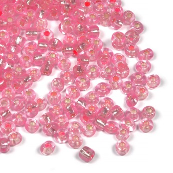6/0 Seed beads, silverlined ljusrosa, 4mm