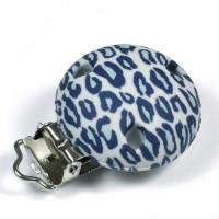 Silikonclips, leopard grå