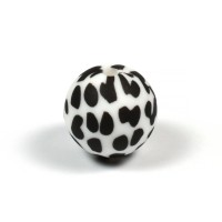 Silikonpärlor 15mm, dalmatiner