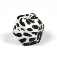 Kantig silikonpärla, 18mm, dalmatiner