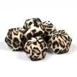 Kantig silikonpärla, 18mm, leopard päls