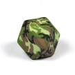 Kantig silikonpärla, 18mm, camouflage