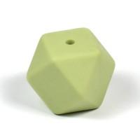 Kantig silikonpärla, 18mm, pistagegrön
