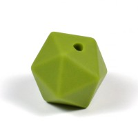 Kantig silikonpärla, 16mm, olivgrön