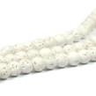 Lava pärlor, vit, 6mm