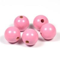 Träpärlor rosa, 20mm