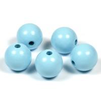 Träpärlor ljusblå, 20mm